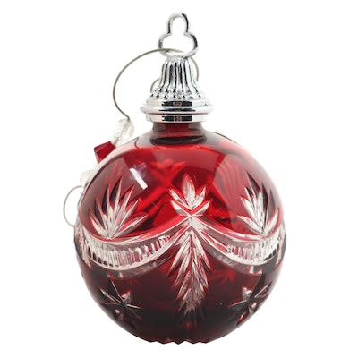 Waterford Crystal Red Cut to Clear Ornament with a Decorative Hook