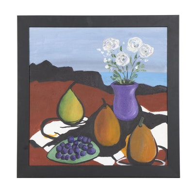 Judith R. Robinson Still Life Acrylic Painting of Fruit and Flowers