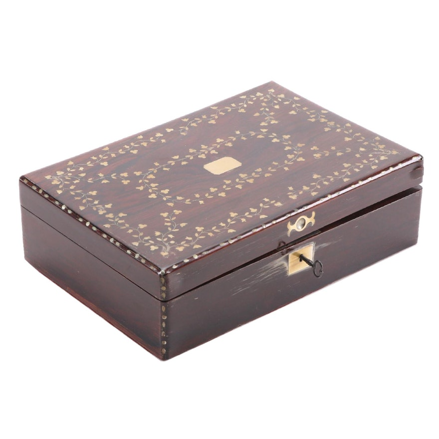 Cedar Lined Brass Inlaid Rosewood Box