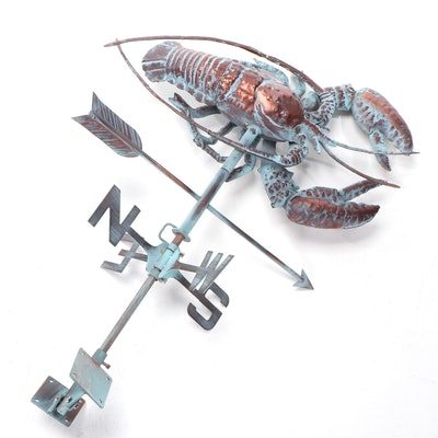 Patinated Copper Lobster Weathervane