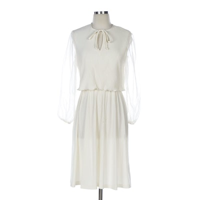 Accordion Pleat Tie Front Dress with Sheer Sleeves
