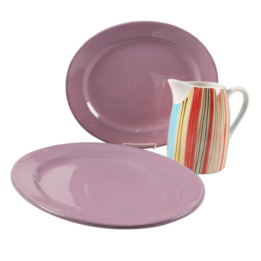 Italian Bizzirri Pottery Ceramic Serving Platters With Pfaltzgraff Pitcher