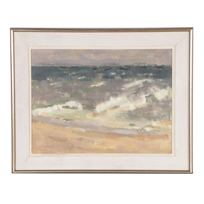 """Bruce McKain Oil Painting """"Provincetown Southeaster,"""" Mid-20th Century"""