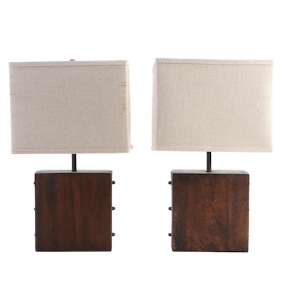 Contemporary Loft Style Wooden Lamps with Rectangular Linen Shades