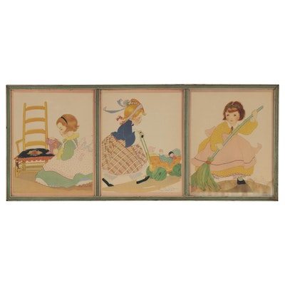 Offset Lithographs after Fern Bisel Peat Illustrations of Children