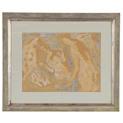 Figural Mixed Media Painting of Women and Infant