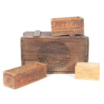 Product Shipping Crates Including Wagner Beer and Breakstone's, Early/Mid 20th C