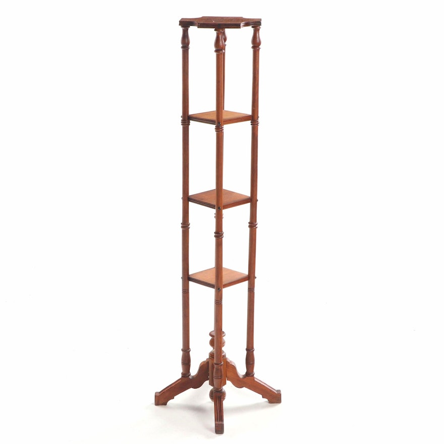 Victorian Walnut Four-Tier Fern Stand, Late 19th Century