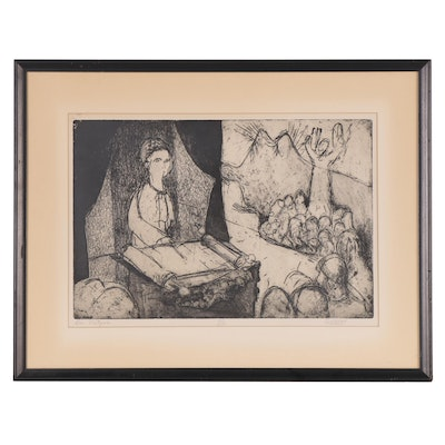 "Figural Etching with Aquatint ""Bar Mitzvah"""