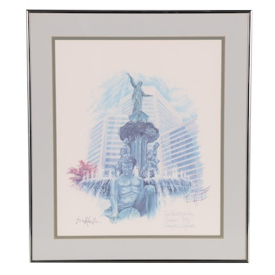"""Offset Lithograph """"The Heart of the Queen City...Fountain Square"""""""