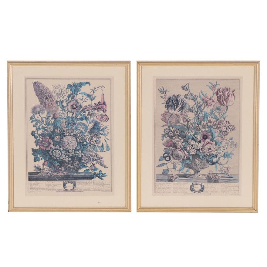 """Offset Lithographs after Robert Furber's """"Calendar of Flowers"""""""