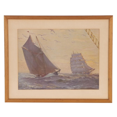 Offset Lithograph of Nautical Scene, Mid to Late 20th Century