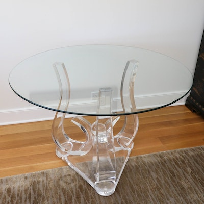 Scrolled Acrylic and Glass Top Accent Table