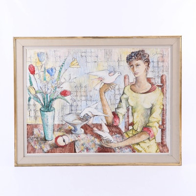 """Oil Painting """"Femme Fille aus Colomes,"""" 20th Century"""