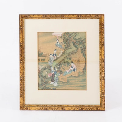 East Asian Ink and Watercolor Textile Painting of Family Scene, 19th Century