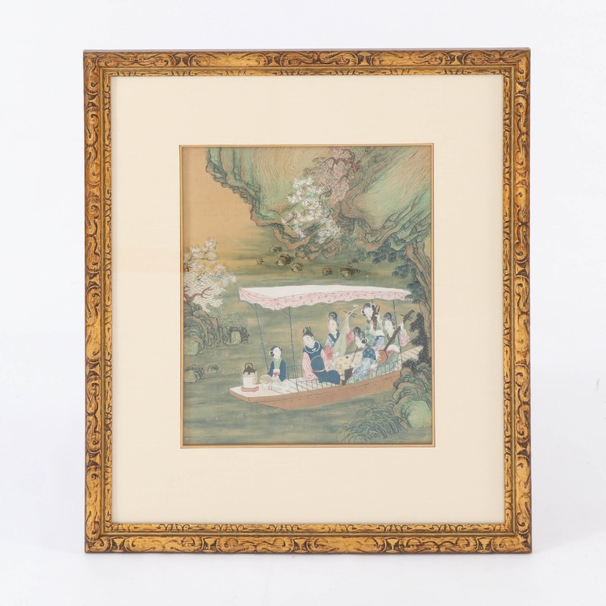 East Asian Ink and Watercolor Textile Painting of Boat Outing with Musicians