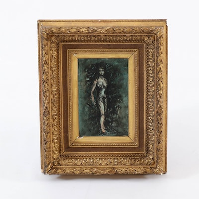Oil Painting of Standing Nude Figure, 20th Century