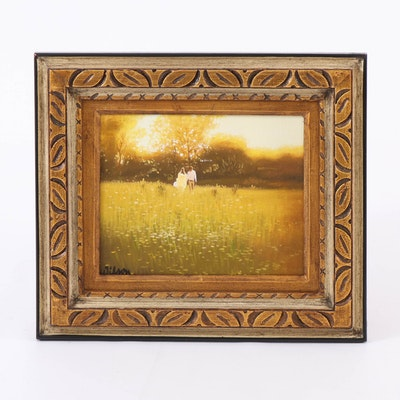 Oil Painting of Couple in a Sunny Meadow, 20th Century