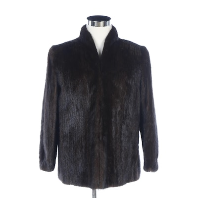 Brown Corded Mink Fur Jacket