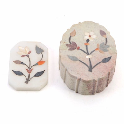 Indian Stone Pietra Dura Floral Box and Plaque