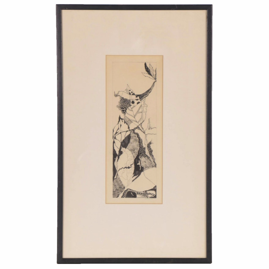 "Abstract Pen and Ink Drawing ""Spring,"" 20th Century"