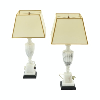 Neoclassical Style Marble Table Lamps with Parchment Shades, 20th Century