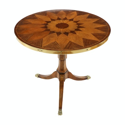 "Baker Furniture ""Stately Homes"" Brass-Mounted Marquetry Side Table"