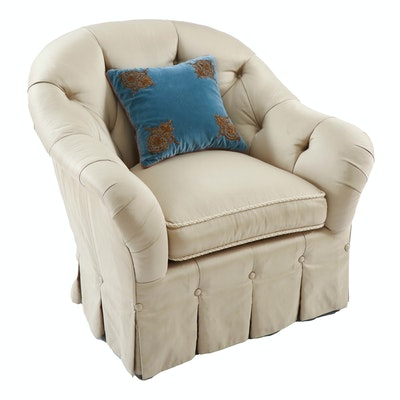 Dapha Silk Upholstered Button-Tufted Armchair with Embroidered Accent Pillow