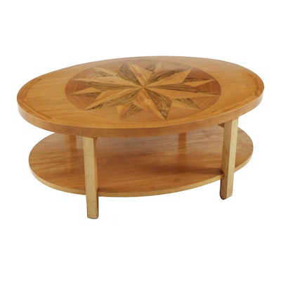 Baker Maple Coffee Table with Twelve-Point Star Wood Inlay