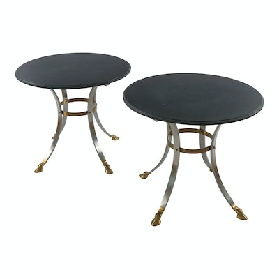 Pair of Brushed Steel, Gilt-Metal and Slate Top Hoof-Footed Side Tables