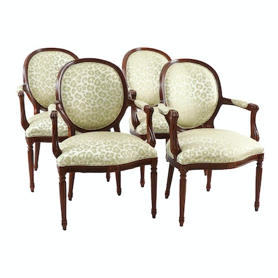 Hickory Chair Co. Louis XVI Style Silk Upholstered Leopard Print Armchairs
