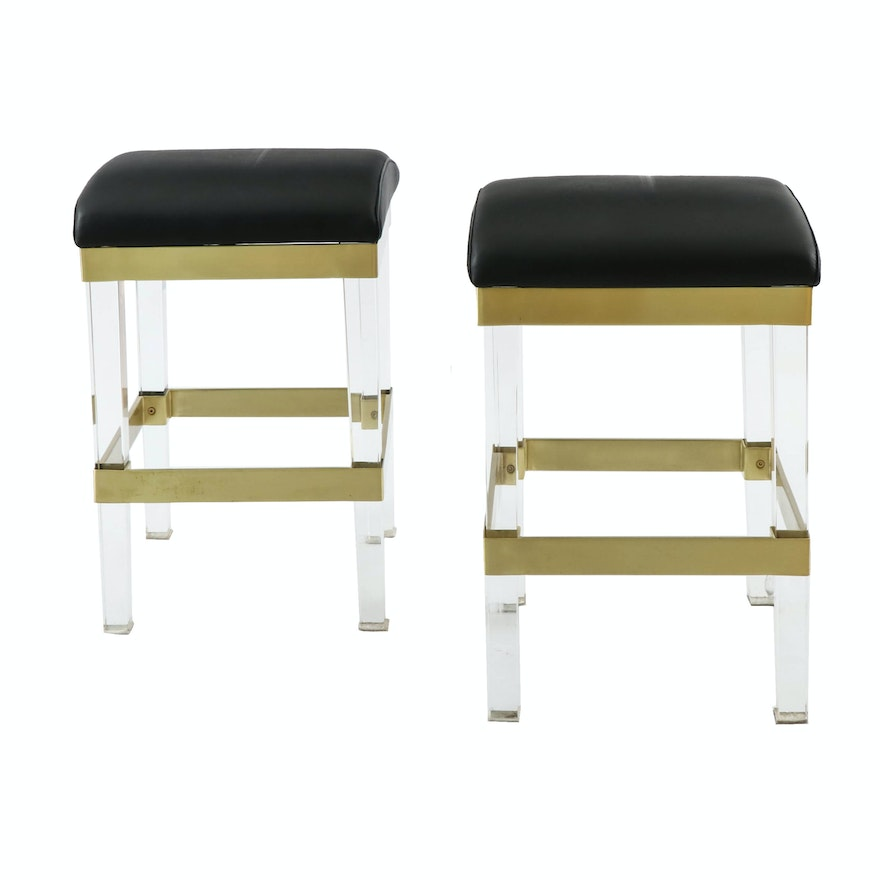 Frontgate Modern Acrylic and Satin Brass Stools