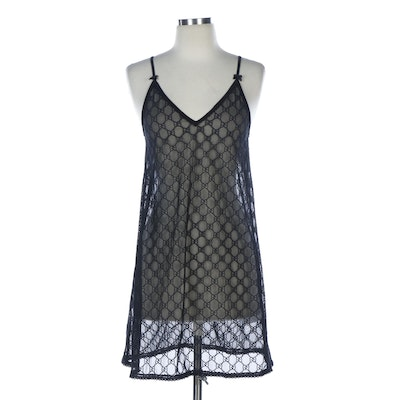 Gucci GG Embroidered Black Mesh Slip