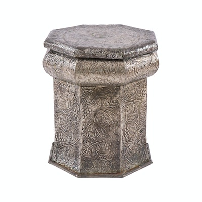 Indian Repoussé Metal Octagonal Storage Table