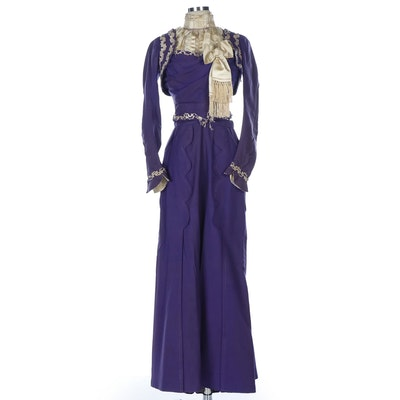 Early Edwardian Handmade Purple Wedding Dress