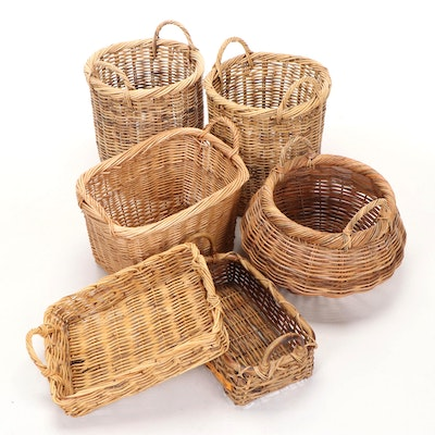 Woven Wicker Storage and Handled Baskets, Late 20th Century