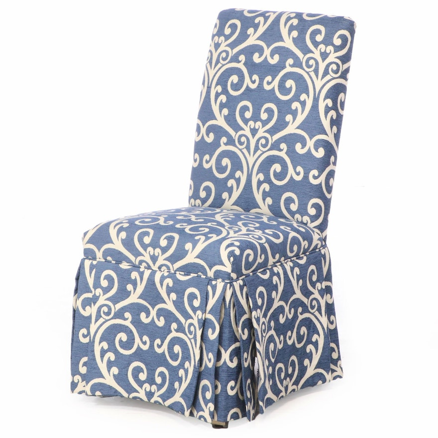 Custom-Upholstered Rolling Parsons Chair
