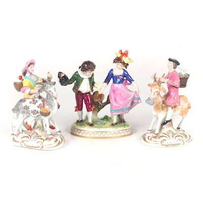 Volkstedt and Porcelaine de Paris Figurines, Late 19th/ Early 20th Century