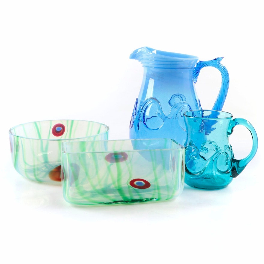 Joe Deanda Hand-Blown Pitcher and Mug with Other Art Glass Tableware