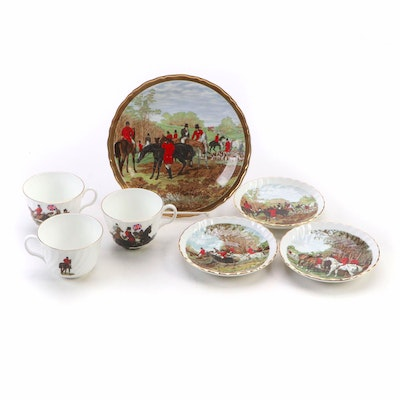 Bethany Fox Hunt Bone China Cups and Saucers with Herring Hunting Scene Plate