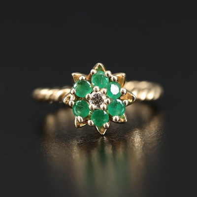 14K Emerald and Diamond Ring Featuring Tulip Setting and Twisted Shank
