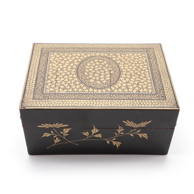 Hand-Painted Black Lacquerware Box