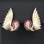 Retro Cartier Platinum and 14K Ruby and Diamond Clip-On Earrings