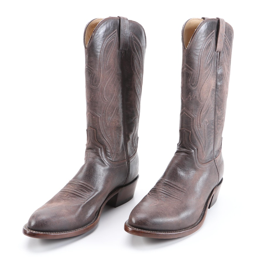 Men's Lucchese x Eric Church The Talladega Western Boots in Weathered Leather
