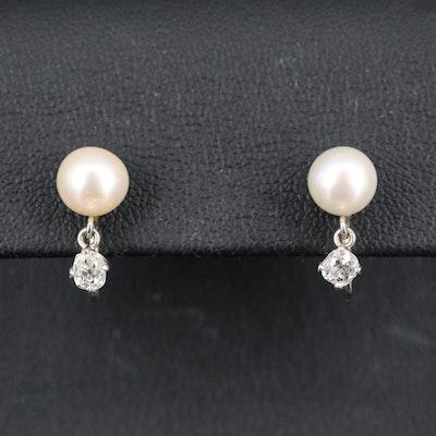 14K Pearl and Platinum Diamond Drop Screw Back Earrings