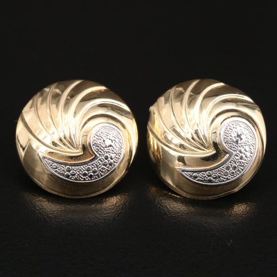 14K Diamond Button Earrings