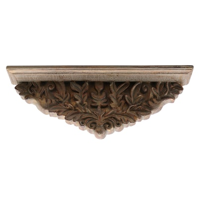 Decorative Wall Shelf with Carved Foliate Design