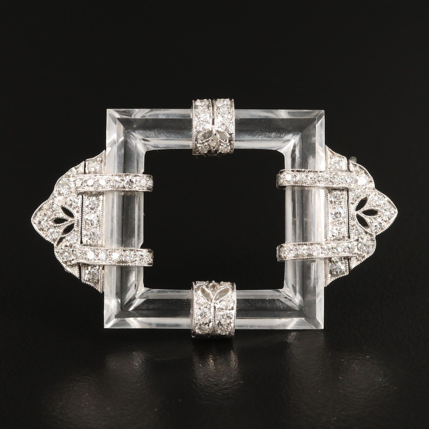 Art Deco Platinum and 18K Rock Crystal Quartz and 1.07 CTW Diamond Brooch