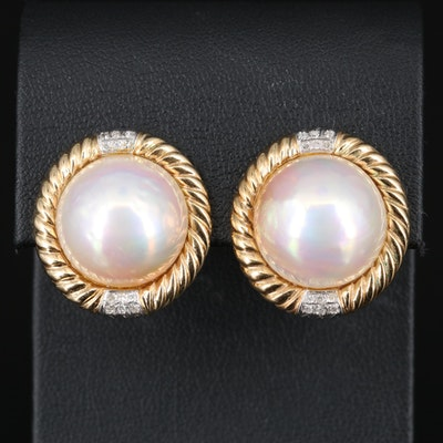 14K Mabé Pearl and Diamond Button Earrings