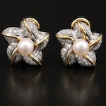 18K Pearl and 1.00 CTW Diamond Clip Earrings